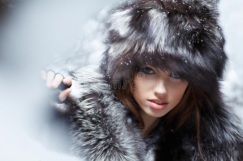 Download Woman In Snowy Winter Outdoors Stock Image - Image: 18068415