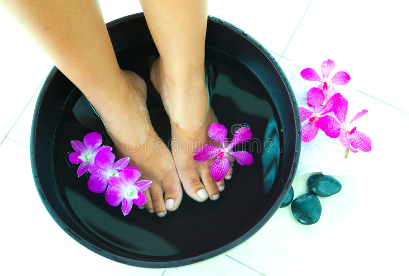 Download Woman Soaking Feet In Bowl Of Water Stock Photo - Image of flower, orchid: 6328254