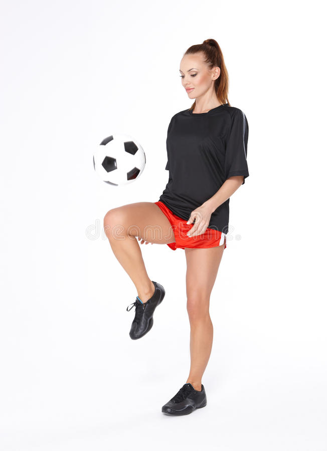 Download Woman with soccer ball stock photo. Image of girl, black - 20487400