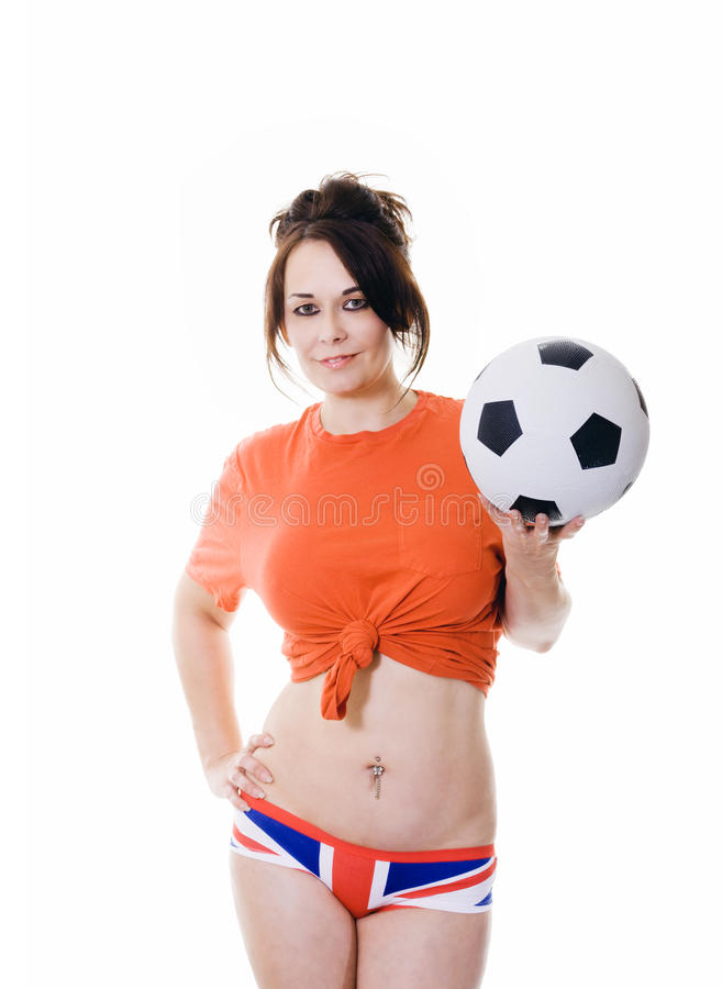 Woman with soccer ball in union jack underwear