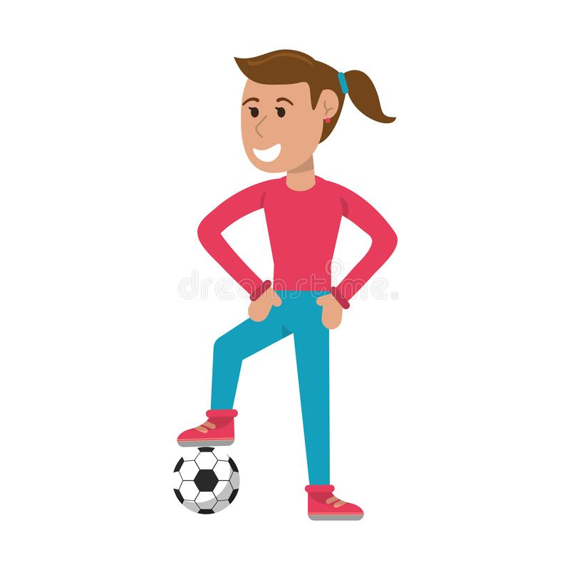 Woman soccer player with ball royalty free illustration