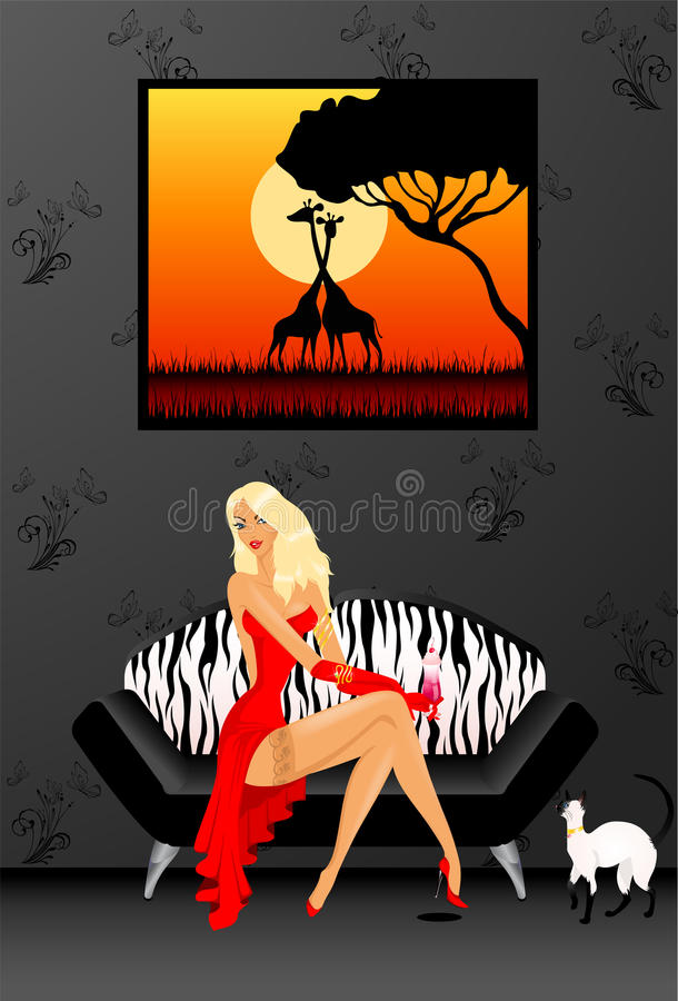 Woman on a sofa stock illustration