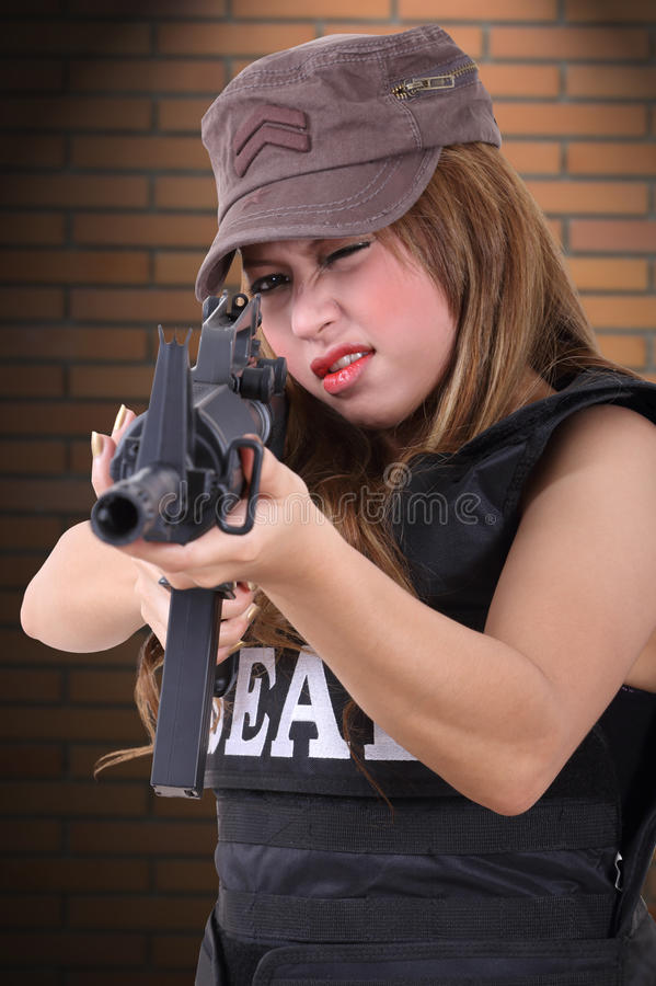 Download Woman soldier stock image. Image of dangerous, model - 48135643