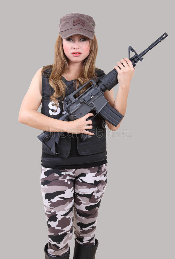Download Woman soldier stock image. Image of action, tactical - 48135531
