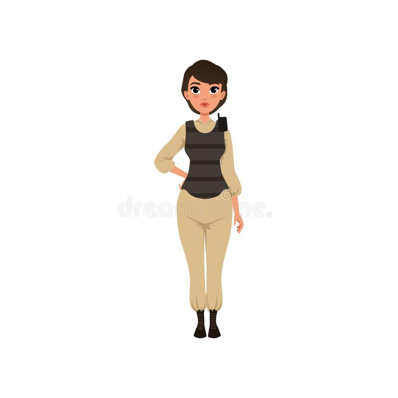 Woman soldier in beige uniform and bulletproof vest with walkie-talkie on shoulder. Young girl in military clothes. Flat royalty free illustration
