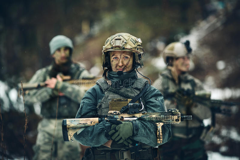 Woman soldier member of ranger squad royalty free stock image