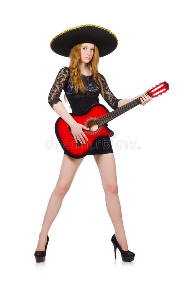 Woman in sombrero. Hat with guitar stock image
