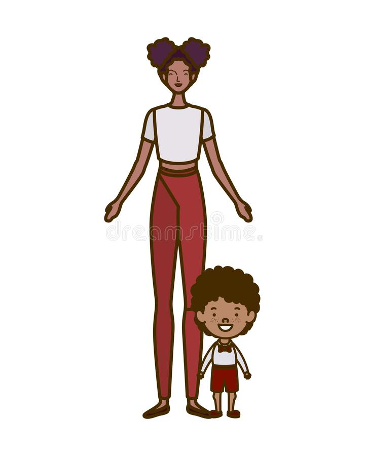 Woman with son of back to school vector illustration