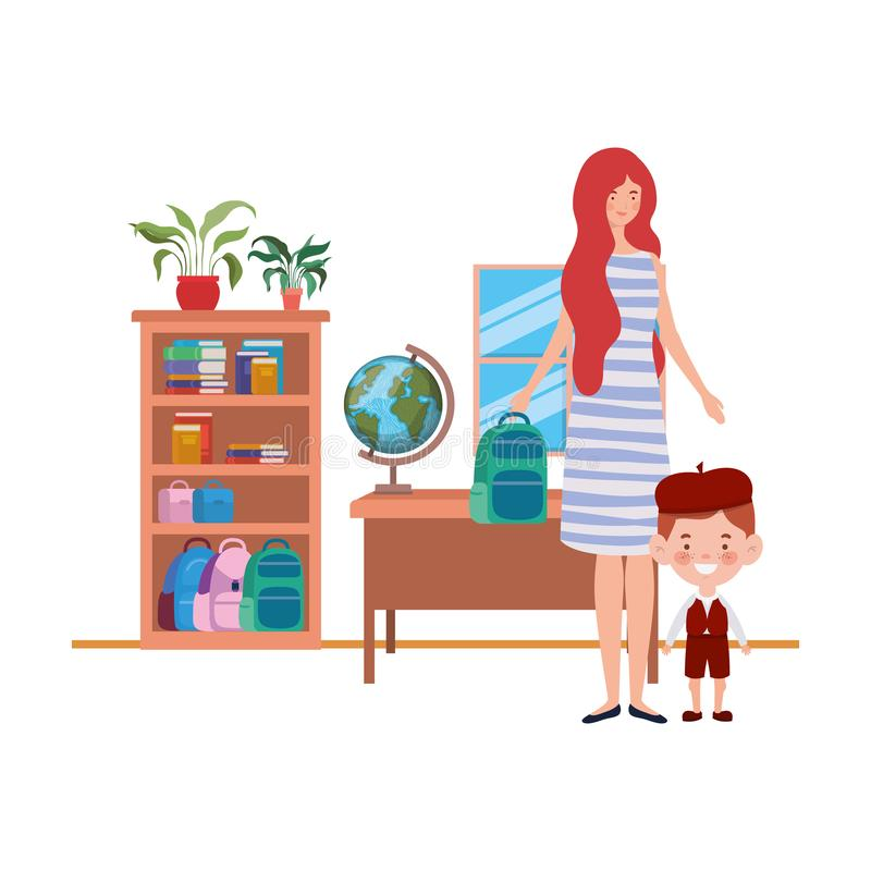 Woman with son of back to school stock illustration