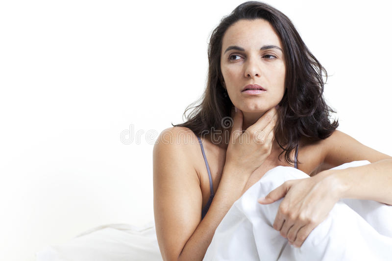 Woman with sore throat stock photography