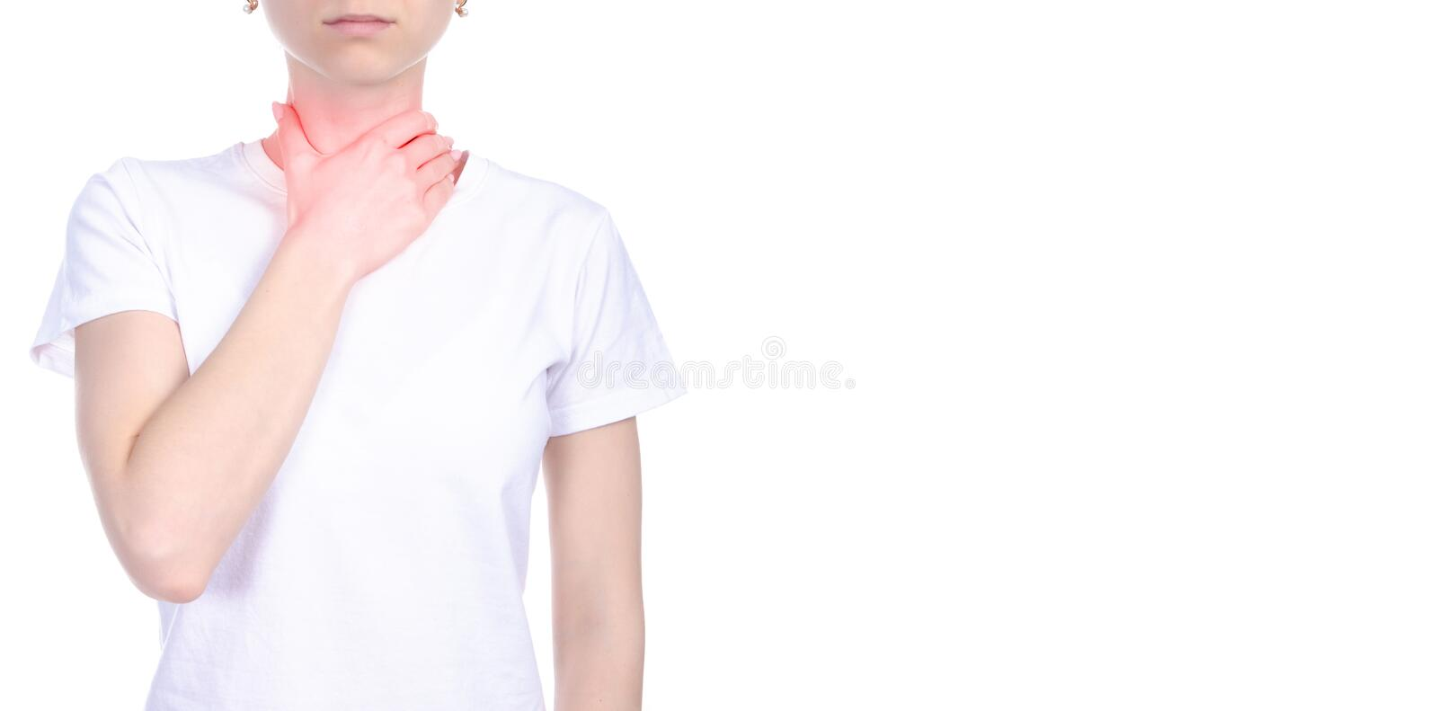 Woman sore throat pain stock images