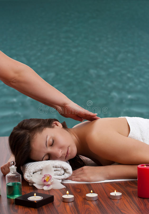 Woman in spa environment royalty free stock photo