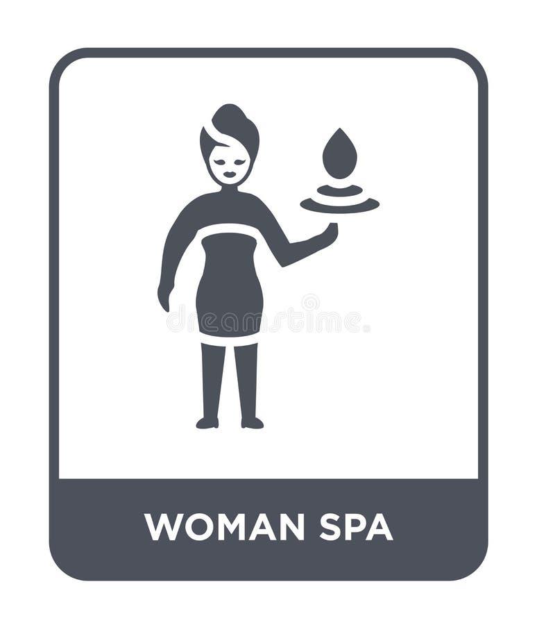 woman spa pictogram in in ontwerpstijl woman spa pictogram op witte achtergrond wordt geïsoleerd die woman spa vectorpictogram ee vector illustratie