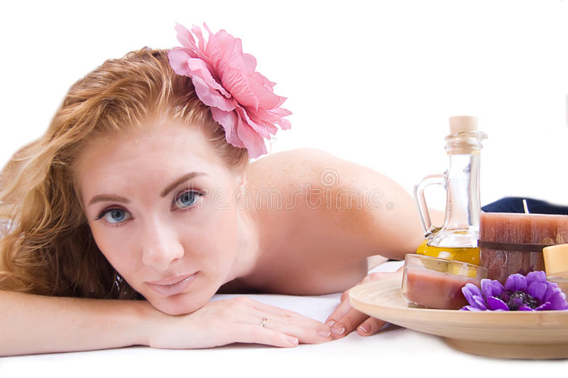 Woman with spa products