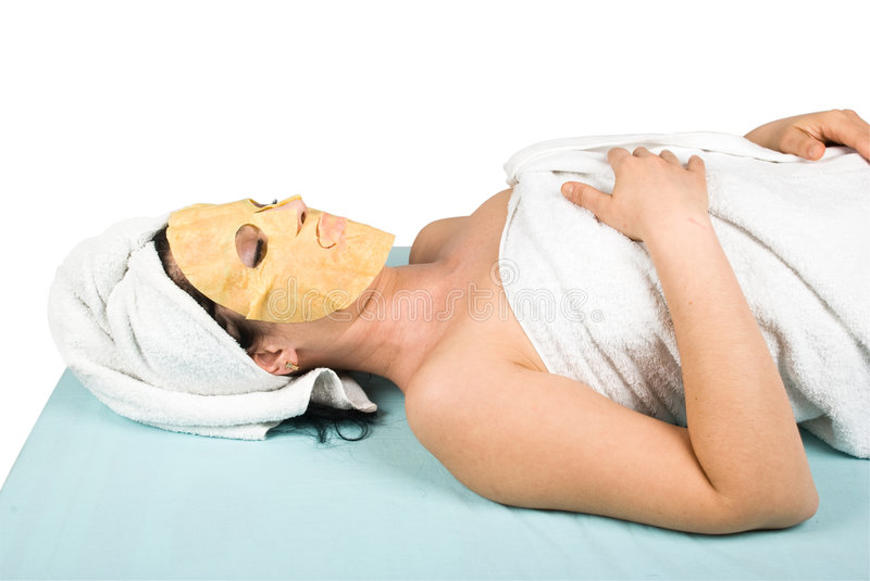Download Woman At Spa Resort With Face Mask Stock Image - Image: 8846371