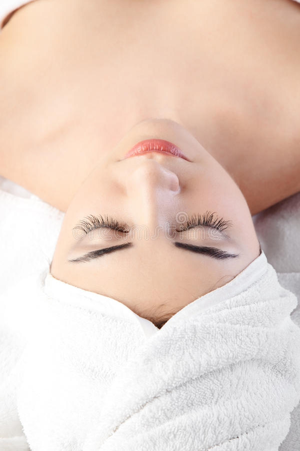 Woman in spa with Towel on hair royalty free stock photo