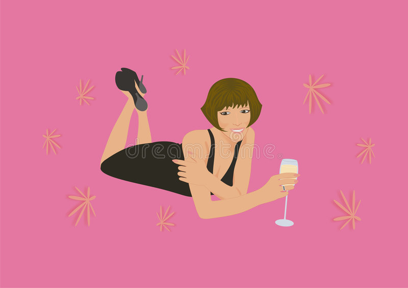 Download Woman with sparkling wine stock vector. Image of figure - 6879970