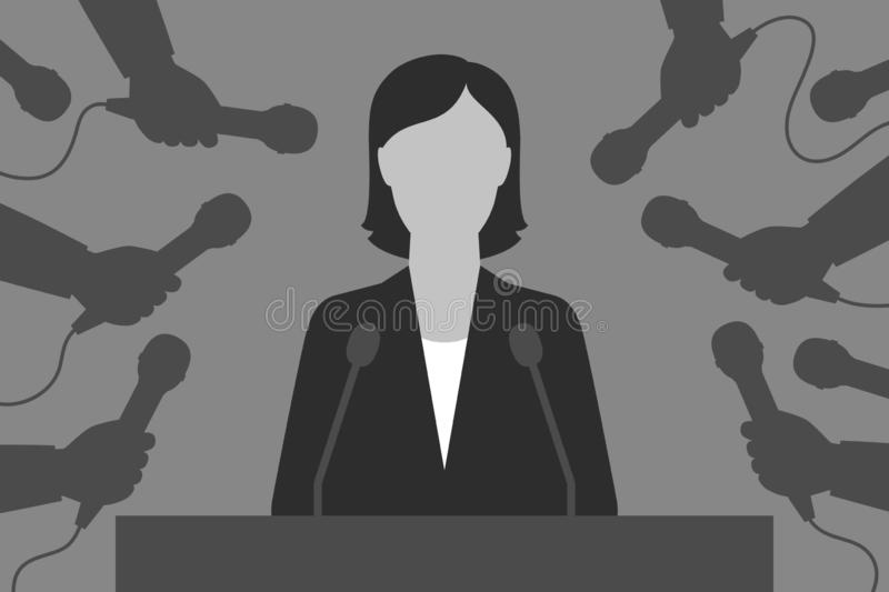 Woman-speaker and reporters. Interview for the media. Woman is behind tribune. Hands with microphones are around. Speaker and reporters. Interview for the media vector illustration