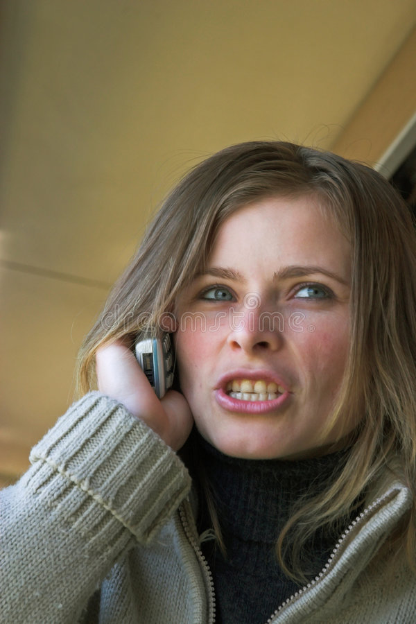 Woman speaking angry stock image