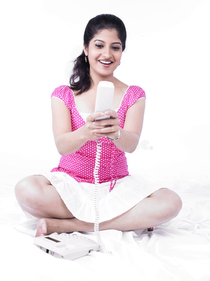 Download Woman Speaking On Her Phone Stock Image - Image: 7387641