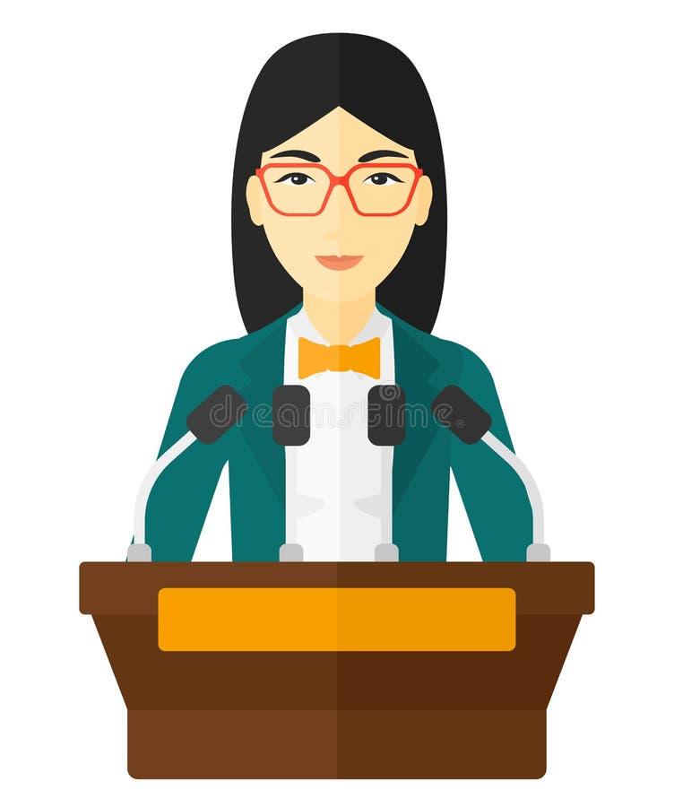 A Woman Saying Her Speech Behind A Podium Cartoon Clipart - Vector ...