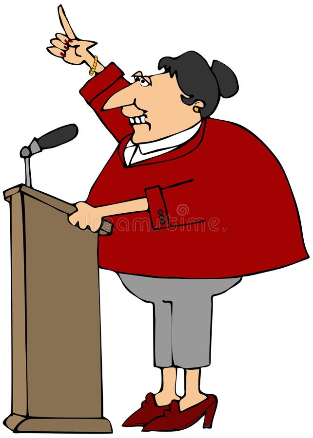 Woman speaking at a podium royalty free illustration