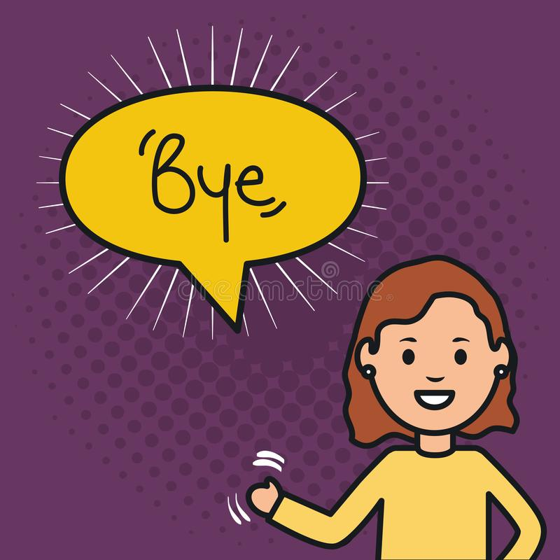 Woman and speech bubble with bye message vector illustration