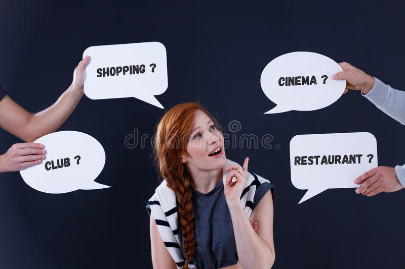 Woman with speech bubbles stock images