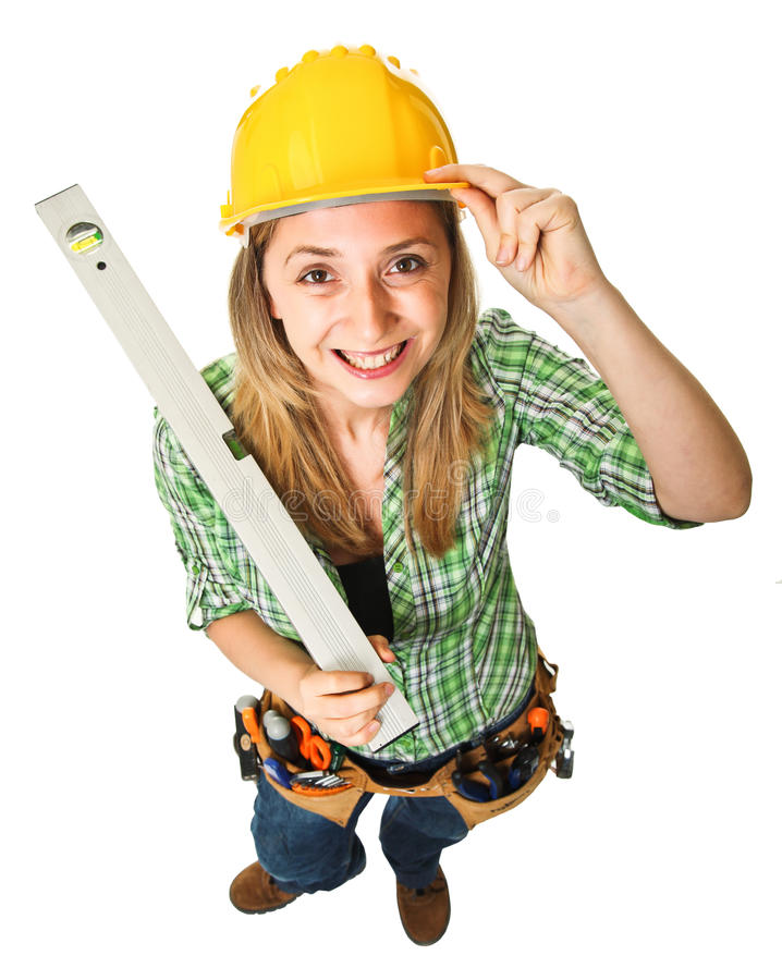 Download Woman with spirit level stock image. Image of smiling - 19844131
