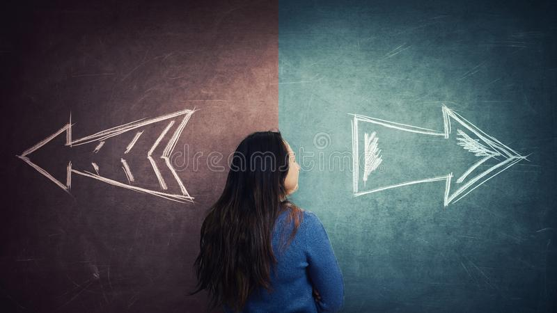 Woman split ways stock illustration
