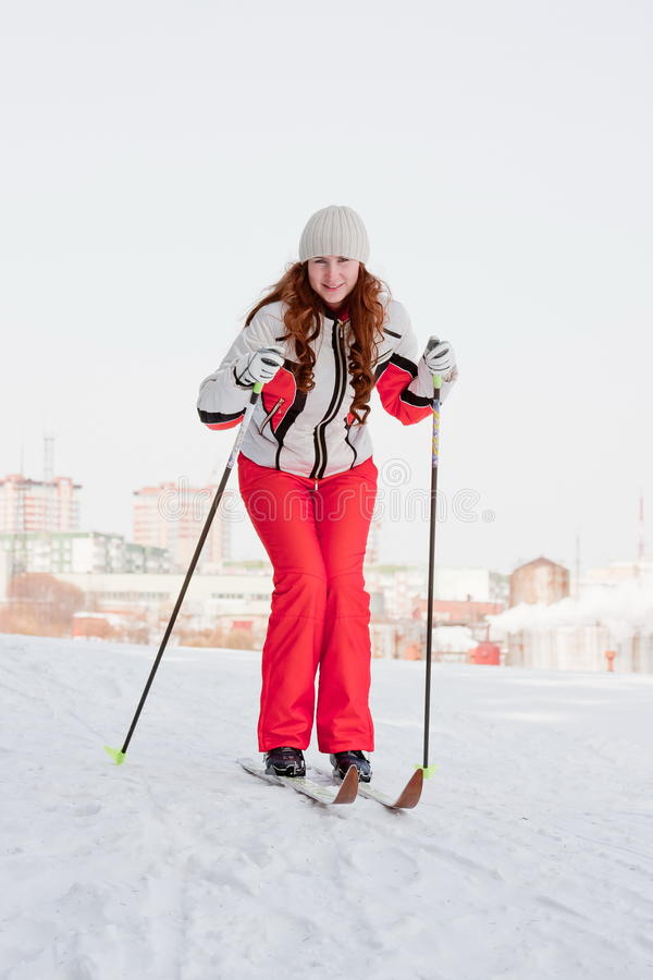 Download Woman In A Sporting Suit On Skis Stock Photo - Image: 19519984