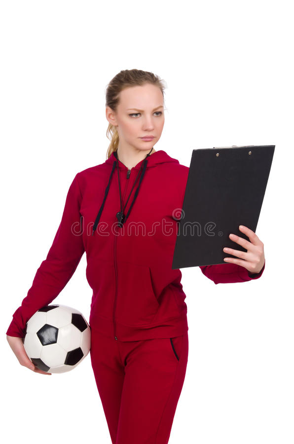 The woman in sports concept stock image