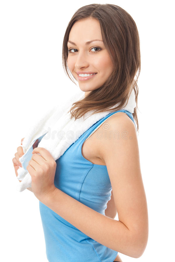 Woman in sportswear with towel stock photos