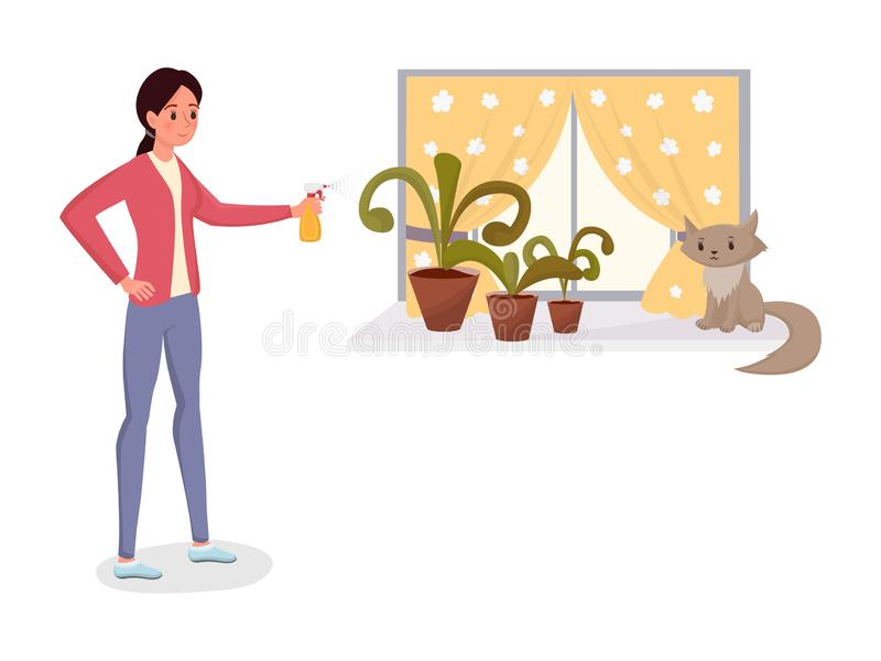 Woman spraying potted flowers flat character. Young girl watering, sprinkling foliage plants, doing house work vector vector illustration