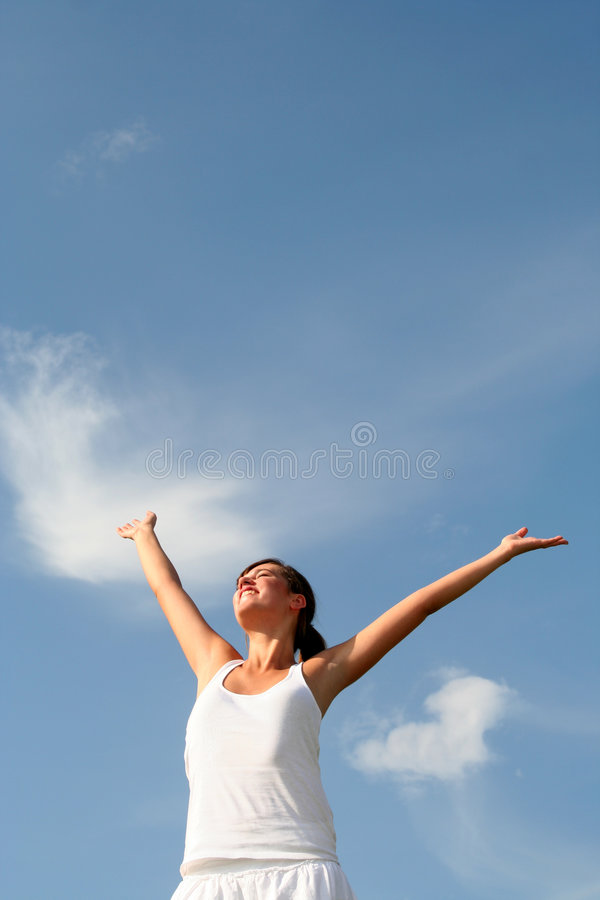 Woman Spreading Arms To Sky Royalty Free Stock Image