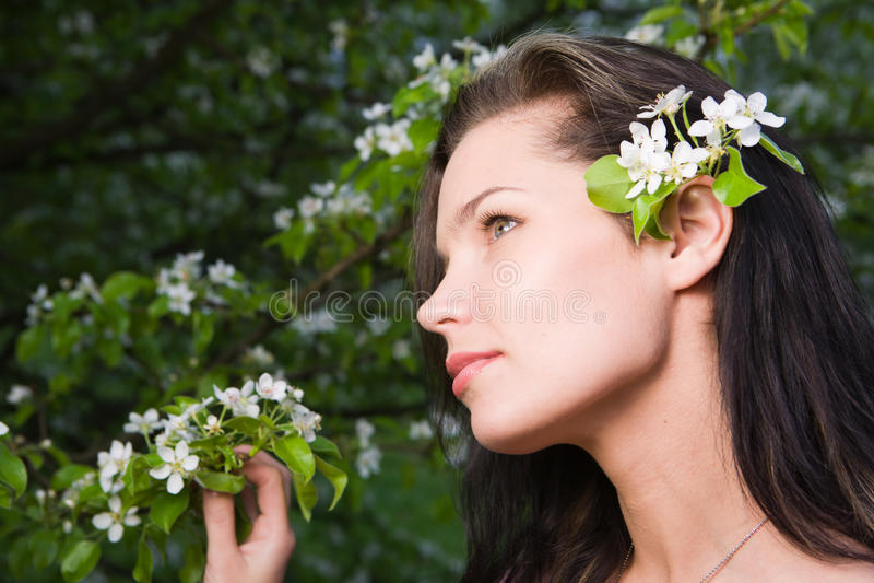 Woman At Spring Stock Photo