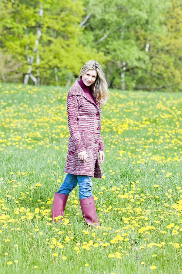 Download Woman on spring meadow stock image. Image of adult, blond - 24226815