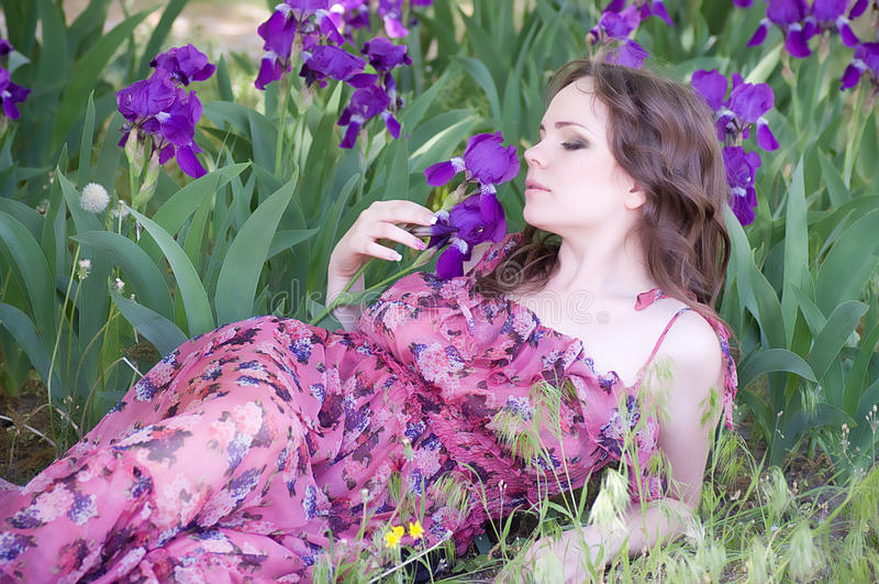 Woman in spring violet taffies