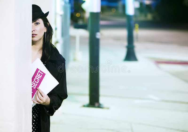 Download Woman Spy with Document stock image. Image of sidewalk - 3421385