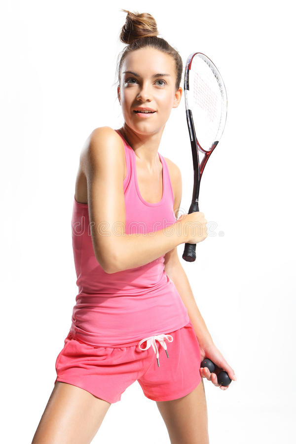 Woman with squash racket stock images