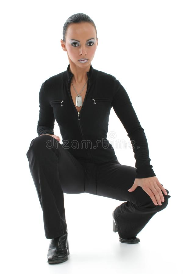 Woman in Squatting Position royalty free stock image