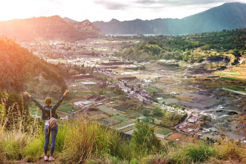 Woman Sstanding On Mountain In Morning. Bali Island. Free Public Domain Cc0 Image