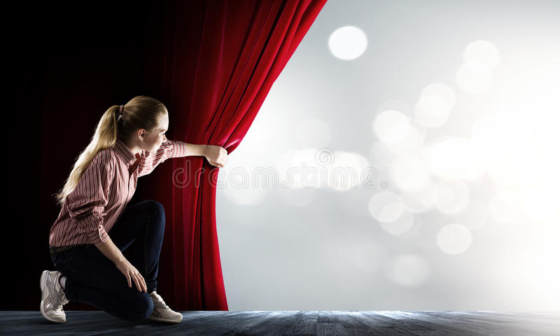 Woman at stage stock photography