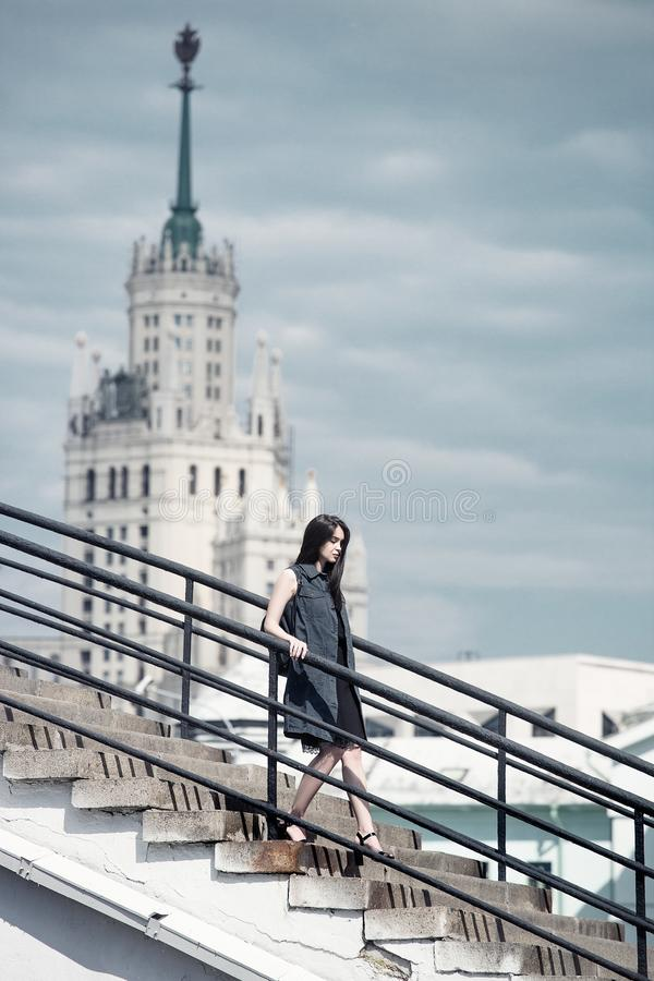 Woman on stairs royalty free stock image
