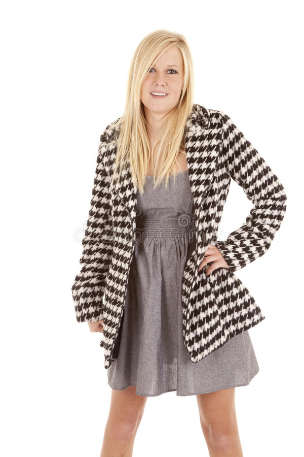 Woman stand black white jacket stock photo