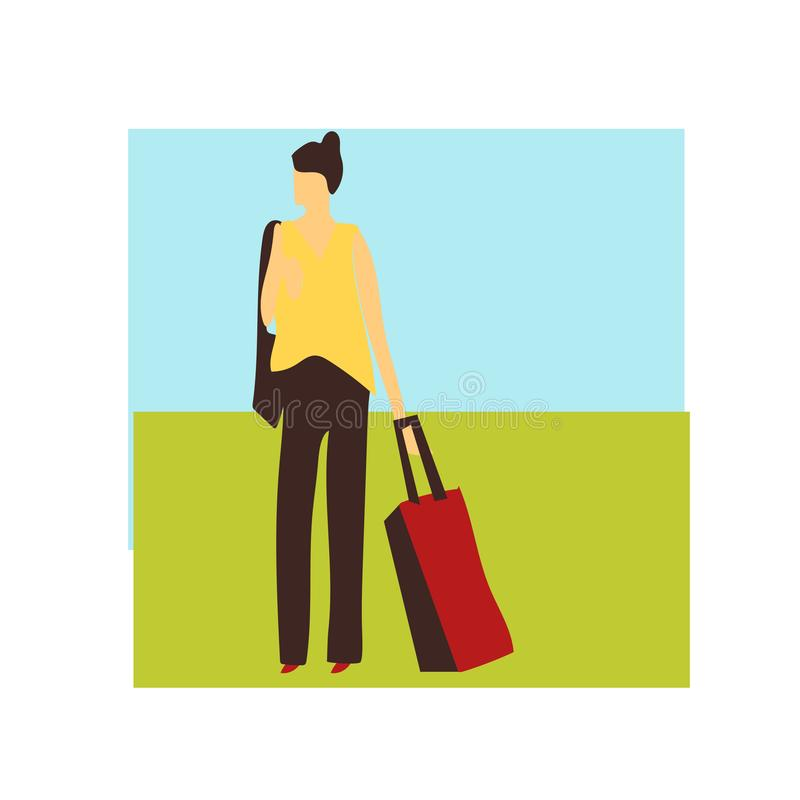 Woman standing with bags vector vector sign and symbol isolated on white background, Woman standing with bags vector logo concept vector illustration