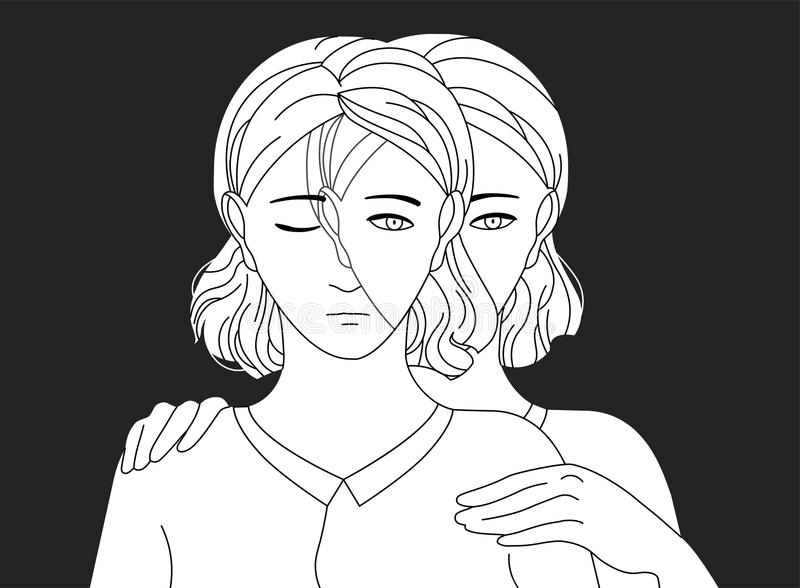 Woman standing behind her sad copy and putting hands on her shoulders. Concept of self aid, support, care and help vector illustration