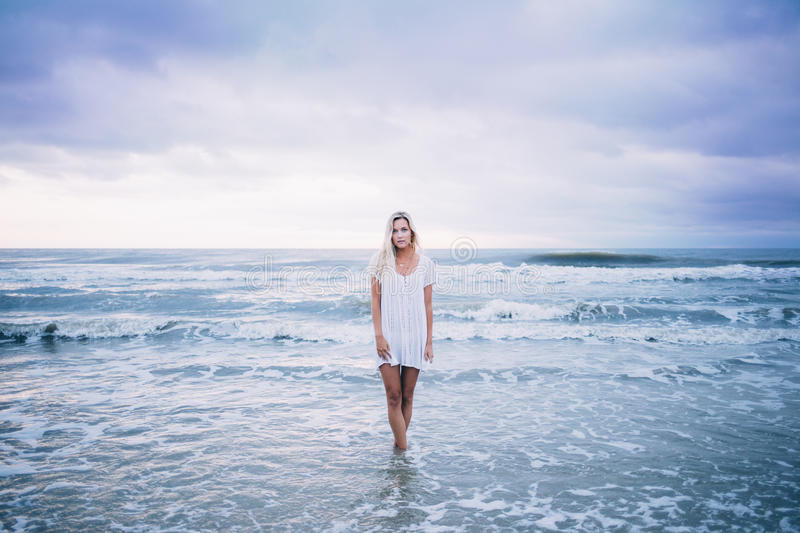 Woman In Standing Body Of Water While Wearing White Scoop Neck Top Free Public Domain Cc0 Image
