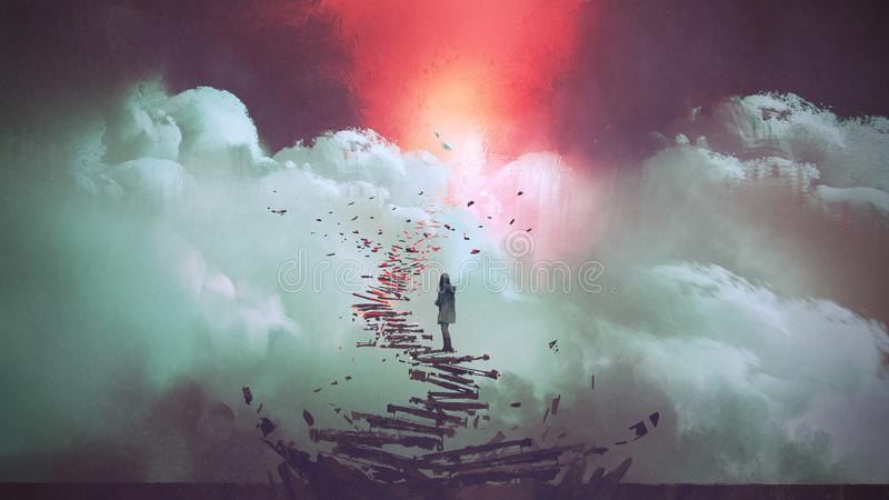 Woman standing on broken stairs royalty free illustration