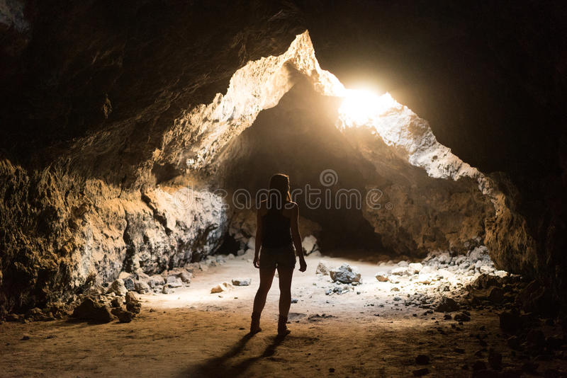 Woman Standing At Cave Opening Free Public Domain Cc0 Image